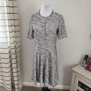 Rebecca Taylor Tweed Fringe Dress Size 10 Zip Back
